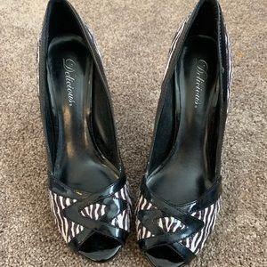 Zebra peep toe heels